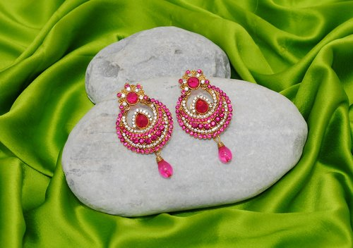 Goldpolish fusicha pink and white earring-2384