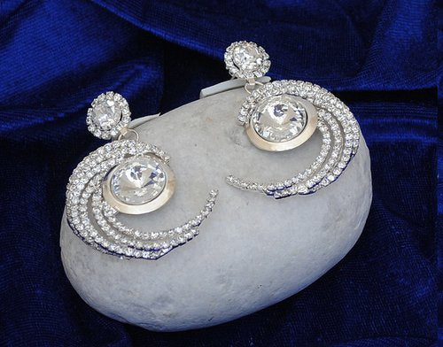 Silverpolish white diamond earring-2424