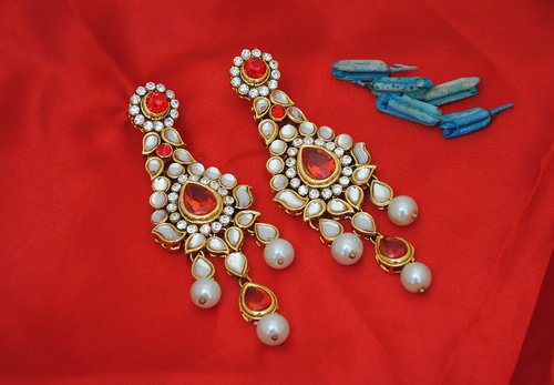 Goldpolish red and white earring-2441