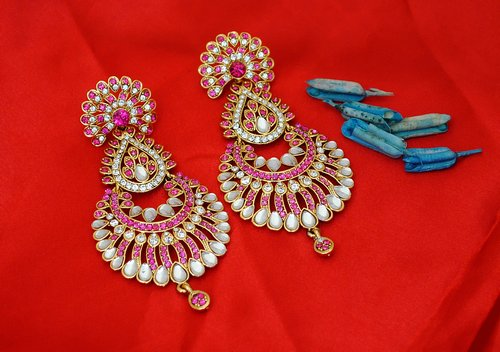goldpolish deep red and white earring 2447