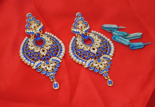 Goldpolish blue and white earring-2448