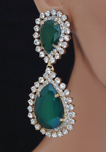 goldpolish emeral green and white earring-2463