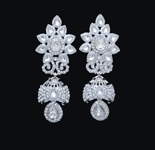 Silverpolish white diamond earring-2467