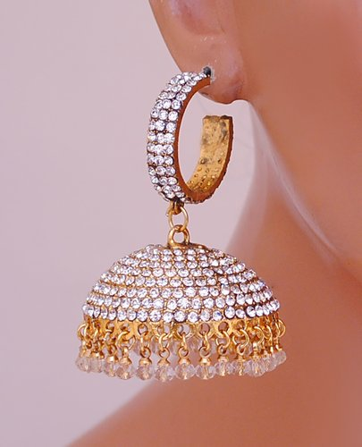 Goldpolish white jhumi earring-2506