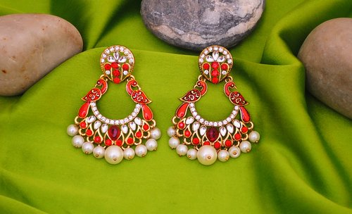 Goldpolish red and white earring-2513