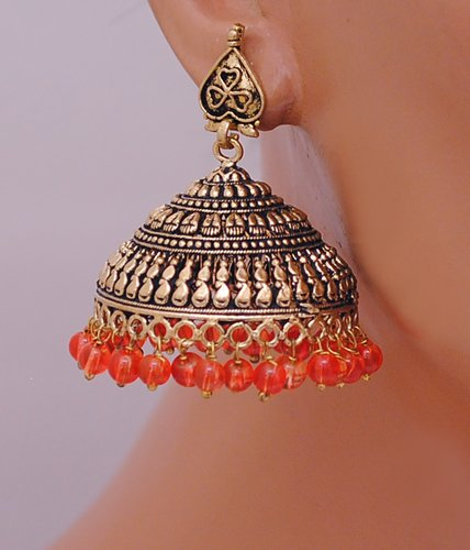 Beautiful antique gold and orange jhumi-2539