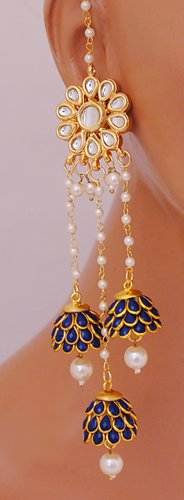 Goldpolish blue  and white earring-2582