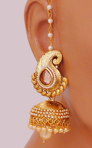 Goldpolish jhumi earring-2593