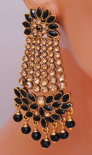 Goldpolish black earring-2746