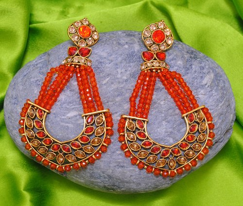 Goldpolish orange earring-2755
