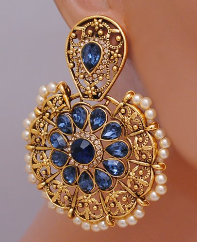 Goldpolish blue earring-2762
