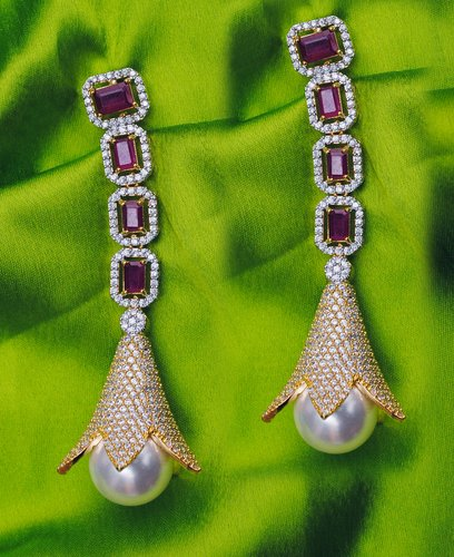 Goldpolish ruby red and white earring-2779