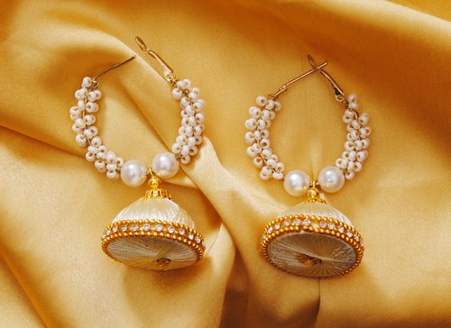 Goldpolish white jhumi earring-2806