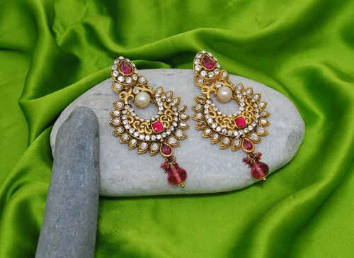 Goldpolish fusicha pink and white earring-2232