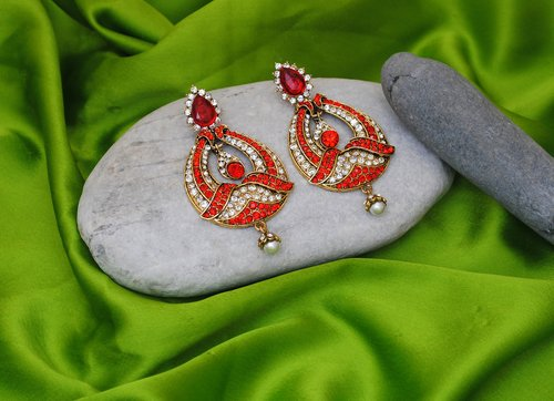 Goldpolish red and white earring-2238