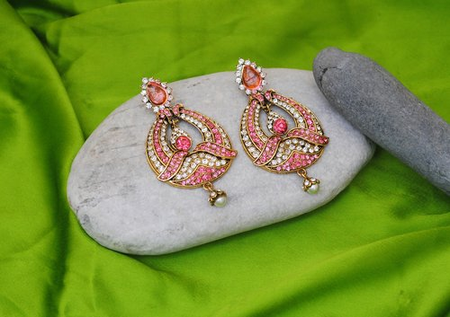 Goldpolish pink and white earring-2240