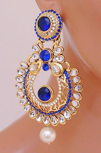Goldpolish blue and white earring-2252