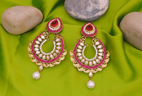 Goldpolish fusicha pink and white earring-2253