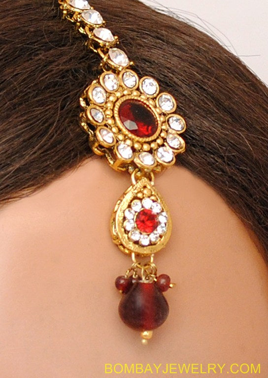 GOLDPLATED MARRON AND WHITE KUNDAN EARRING WITH TIKKA