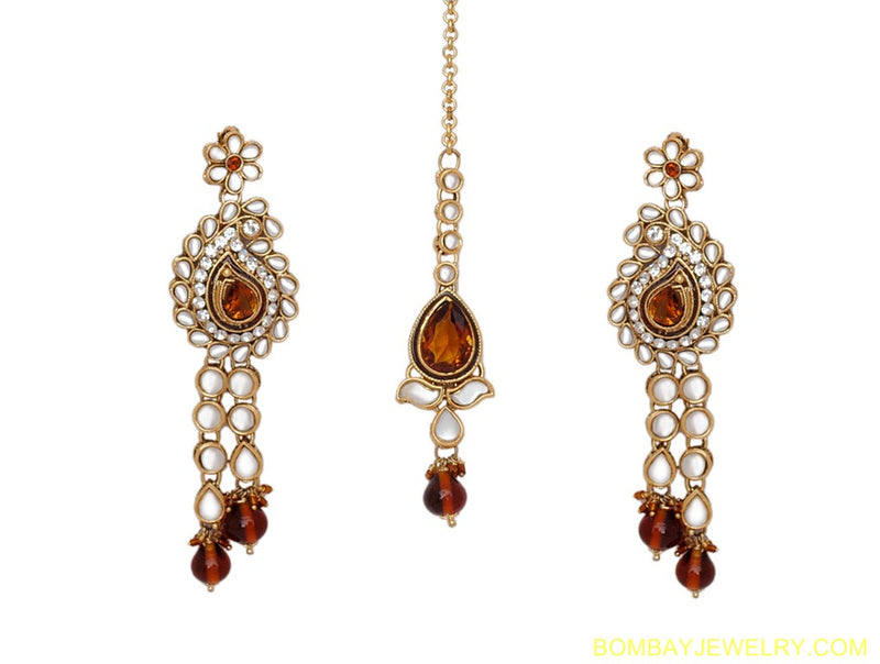 goldplated brown and white kundane arring, tikka