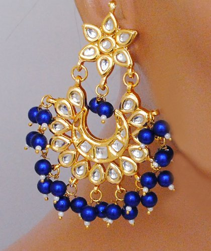 Goldpolish blue and white earring -1209
