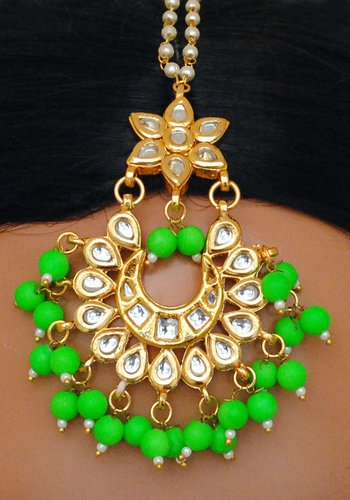 Goldpolish neon green and white kundan earring with tikka-1210