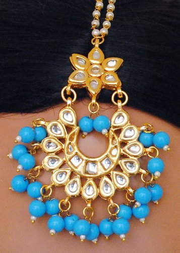 Goldpolish aqua blue and white kundan earring with tikka-1213