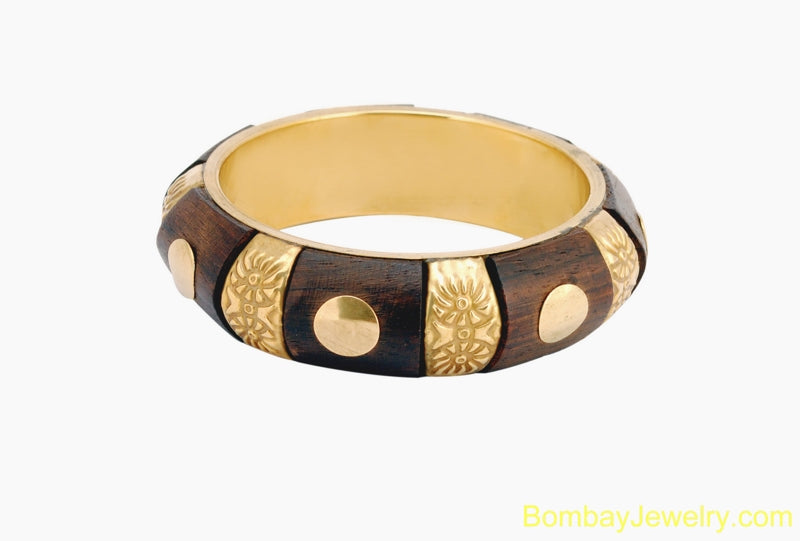 dark brown wood and metal bangle- one size