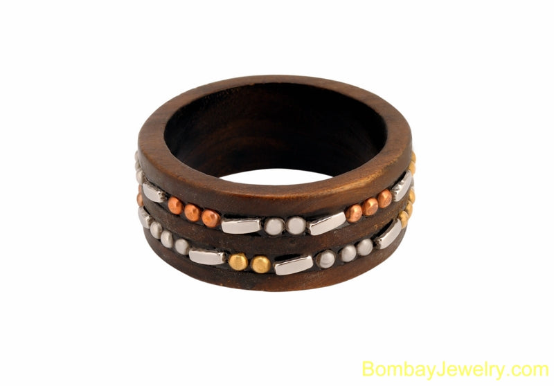 wood bangle with copper and silver studded