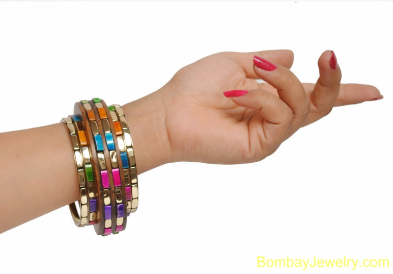 multicolour studded brown wood bangle