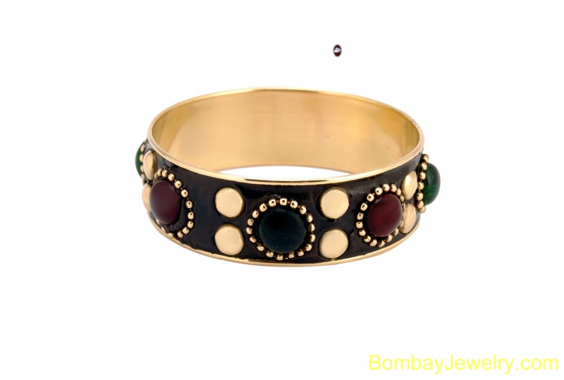 black bangle with red, green and golden stud-extra large