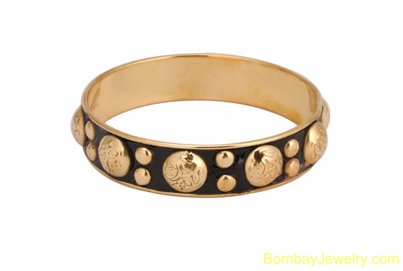 BLACK BANGLE WITH GOLDEN STUDDED