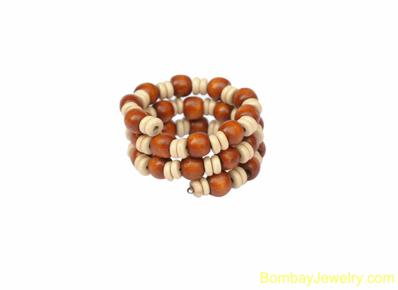 CREAM AND BROWN WOOD WRAP BRACELET