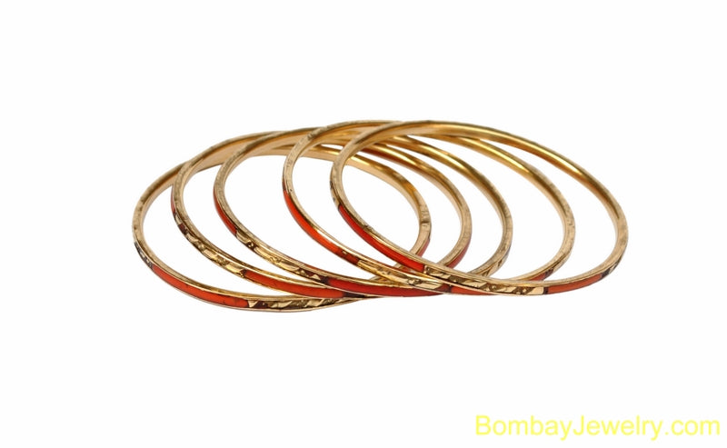 ORANGE AND GOLDEN FASHION BANGLE- ONE SIZE