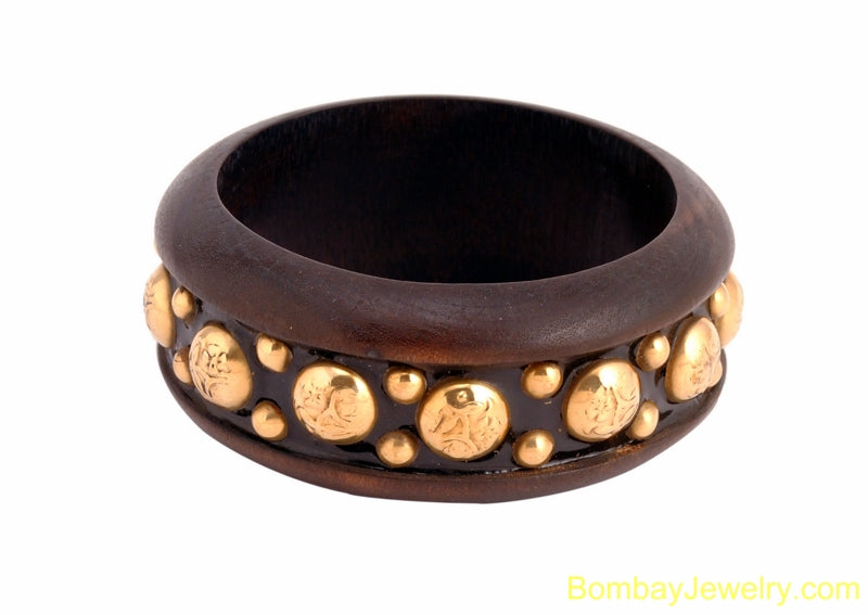 beautiful wood bangle with metal- one size