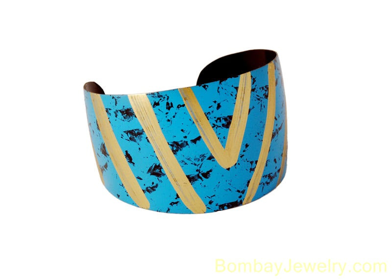 aqua blue fashion cuff bangle