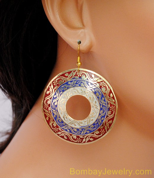 red, blue and white fashion earring