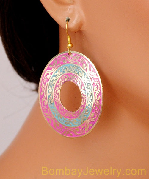 pink and blue fashion earring