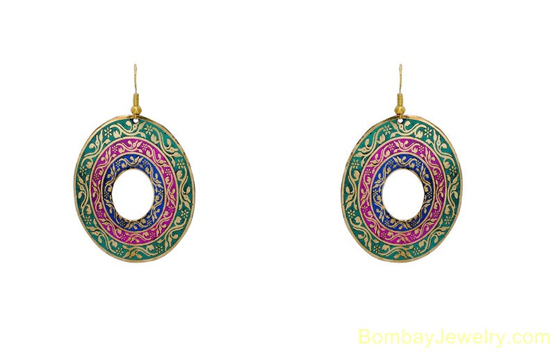green pink and blue fashion earring