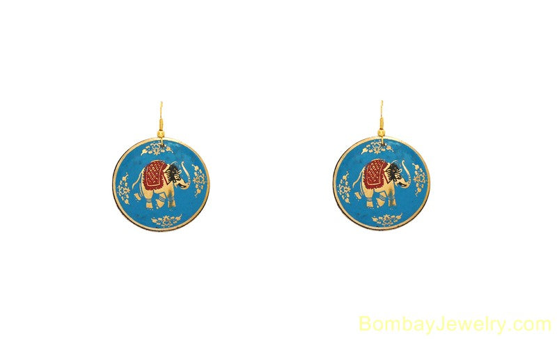 AQUA BLUE GOLDEN AND BROWN HOOP EARRING