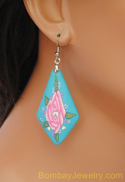 aqua blue and pink hoop earring