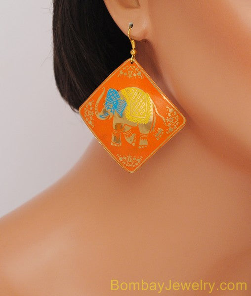 ORANGE GOLDEN, AQUA BLUE HOOP EARRING