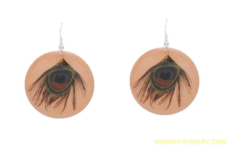 BEAUTIFUL PEACH PEACOCK EARRING