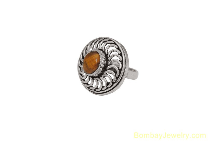 BROWN AND SILVER FASHION RING