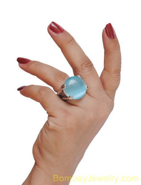 silver and aqua blue fashion ring L