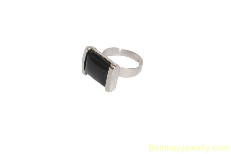 SILVER AND BLACK FASHION RING
