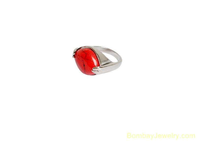 SILVER AND RED FASHION RING