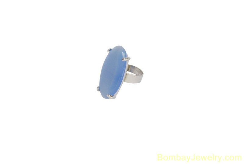 silver and  blue fashion ring