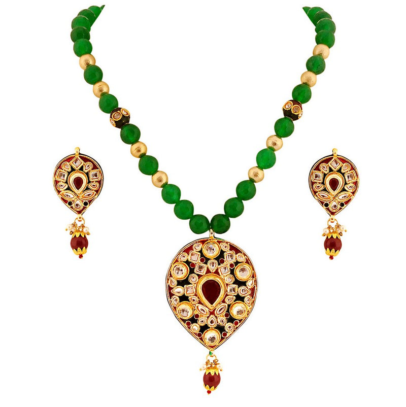 Beautiful maroon, green kundan pendent set-690