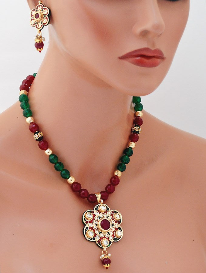 Goldpolish maroon, green and white kundan pendent set-3455